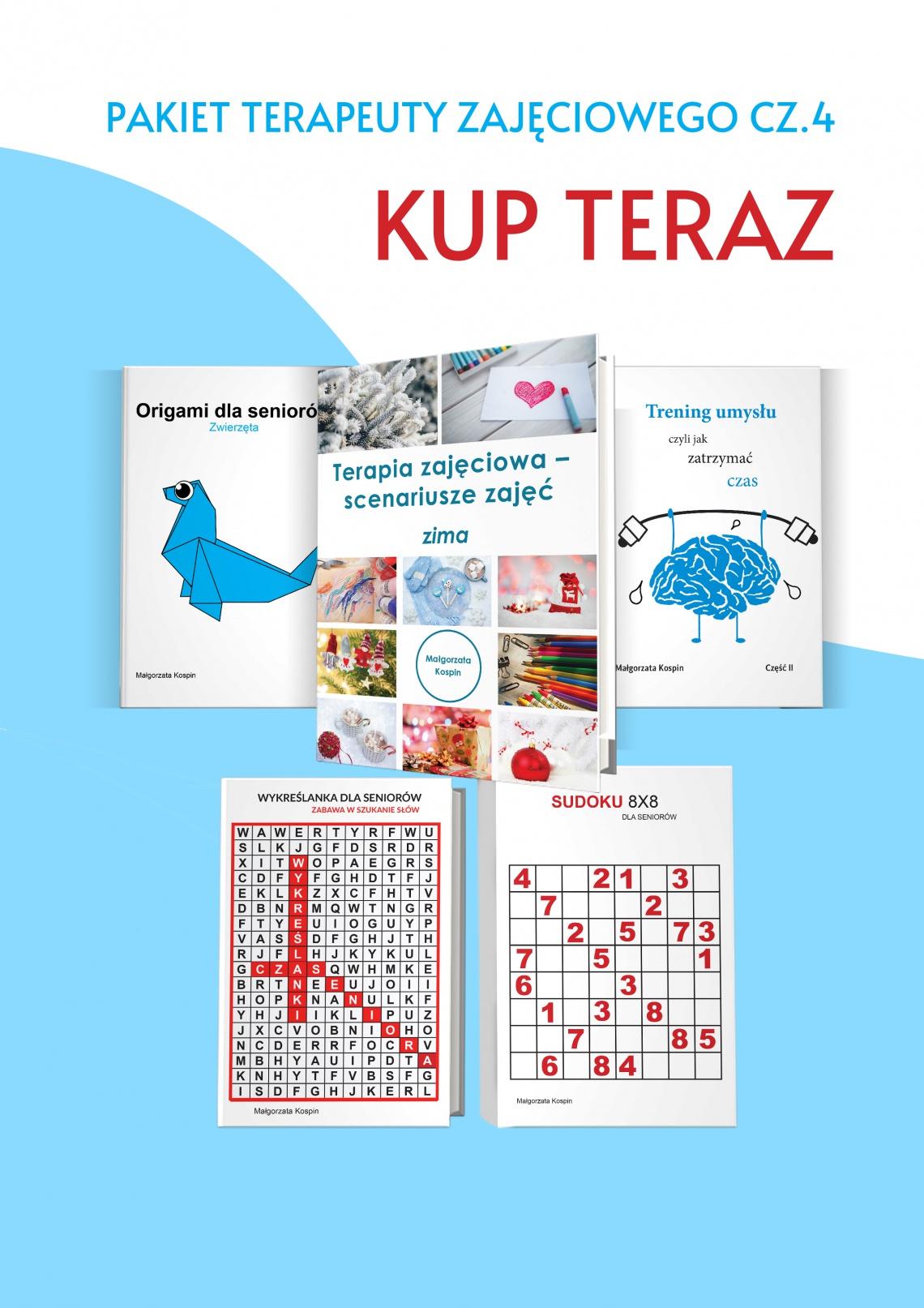pakiet, senior, starość, osoby starsze, książki dla senioró, ćwiczenie pamięci, sudoku, origami, wykreślanka, trening umysłu